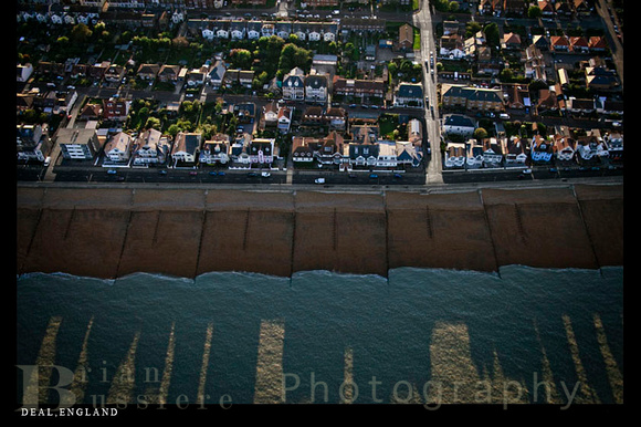 Aerial of the coastline of Deal, England